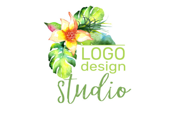 Print on Demand: Logo with Bright Tropical Flowers Graphic Illustrations By MyStocks - Image 3