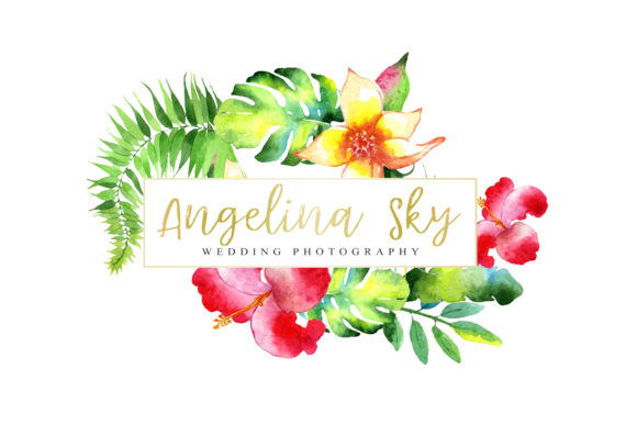 Print on Demand: Logo with Bright Tropical Flowers Graphic Illustrations By MyStocks - Image 4