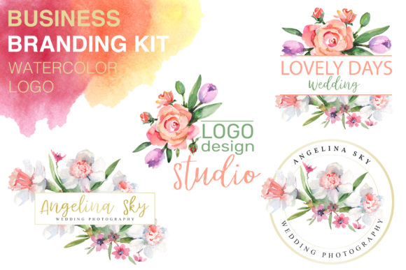Print on Demand: Logo with Roses and Narcissus Watercolor Graphic Illustrations By MyStocks