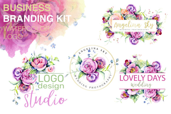 Print on Demand: Logo with Roses and Wildflowers Graphic Illustrations By MyStocks - Image 1