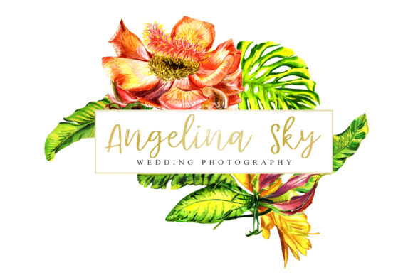 Print on Demand: Logo with Tropical Flowers Watercolor Graphic Illustrations By MyStocks - Image 4