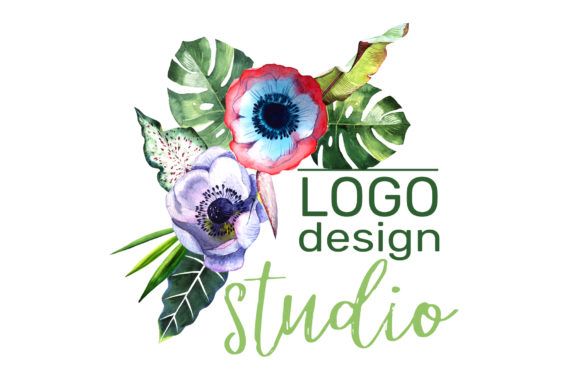 Print on Demand: Logo with Tropical Flowers Watercolor Graphic Illustrations By MyStocks - Image 5