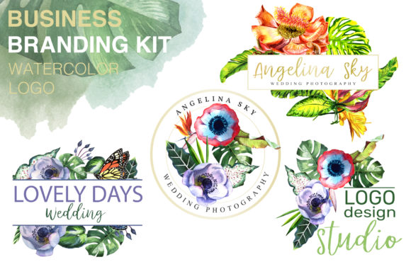 Print on Demand: Logo with Tropical Flowers Watercolor Graphic Illustrations By MyStocks - Image 1