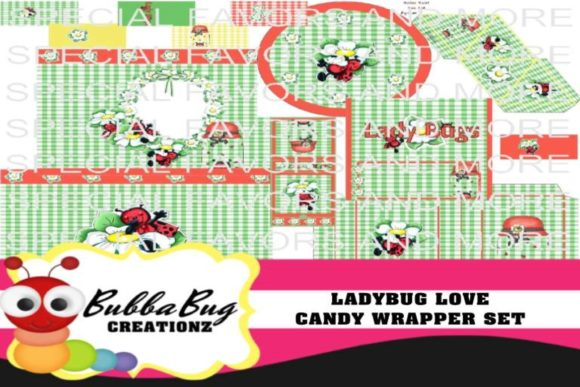 Ladybug Love Candy Wrapper Set Graphic Crafts By BUBBABUG