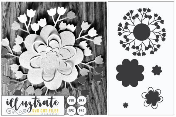 Print on Demand: Layered Flower SVG 6 Graphic Crafts By illuztrate - Image 1