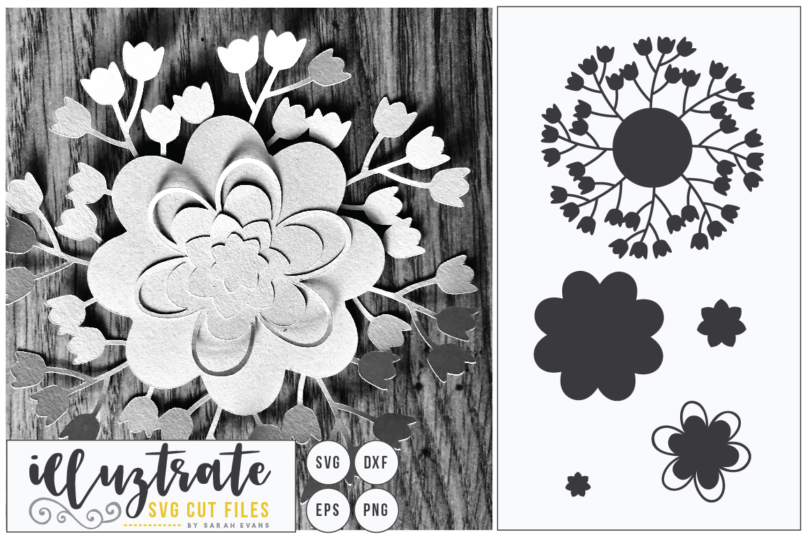 Download Free Layered Flower 6 Graphic By Illuztrate Creative Fabrica for Cricut Explore, Silhouette and other cutting machines.