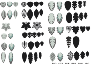 Print on Demand: Leaf Earrings, Earrings, Pendant Template, Cut Files Graphic Crafts By yulnniya