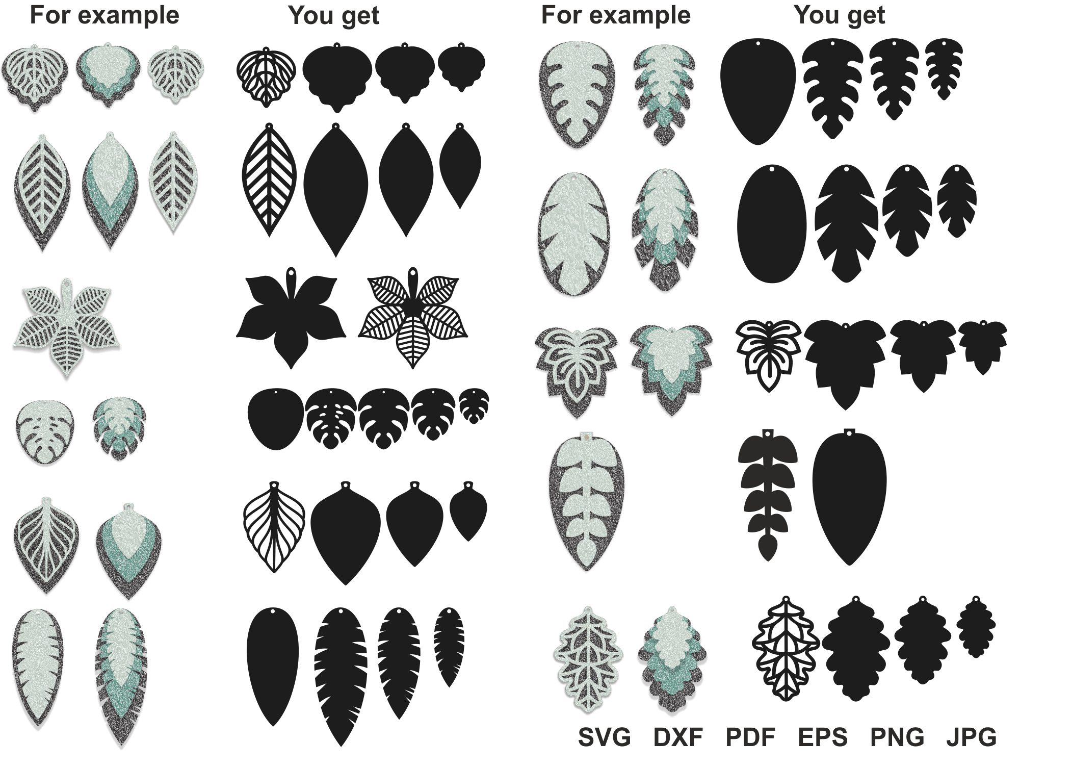 Download Free Leaf Earrings Svg Earrings Svg Pendant Template Cut Files for Cricut Explore, Silhouette and other cutting machines.