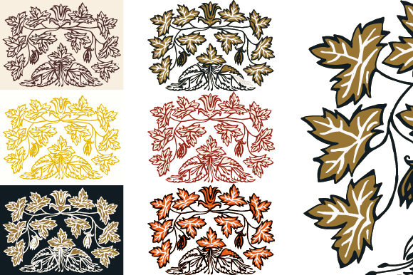 Leaf Vintage Retro Engraved Graphic Backgrounds By asgiaiko