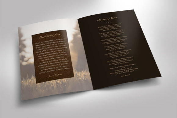 Download Free Leather Funeral Program Template 2 Graphic By Seraphimchris for Cricut Explore, Silhouette and other cutting machines.