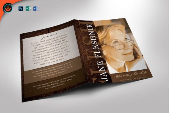 Leather Funeral Program Template 2 Graphic By Seraphimchris