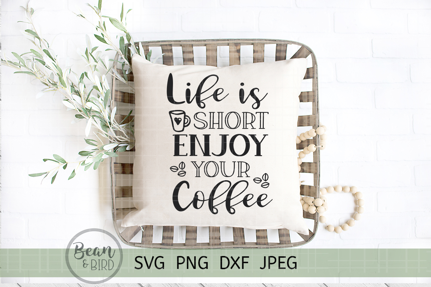 Download Free Life Is Short Enjoy Your Coffee Graphic By Jessica Maike for Cricut Explore, Silhouette and other cutting machines.