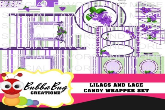 Lilacs and Lace Candy Wrapper Set Graphic Crafts By BUBBABUG