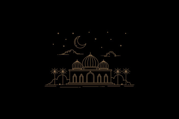 Line Art Style Mosque Design Graphic By sabavector