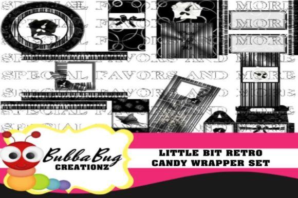 Little Bit Retro Candy Wrapper Set Graphic Crafts By BUBBABUG