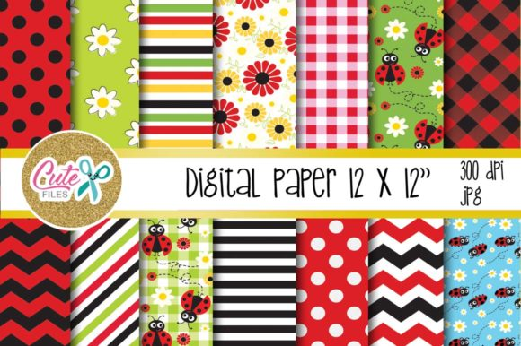 Little Ladybug Digital Paper Graphic Textures By Cute files