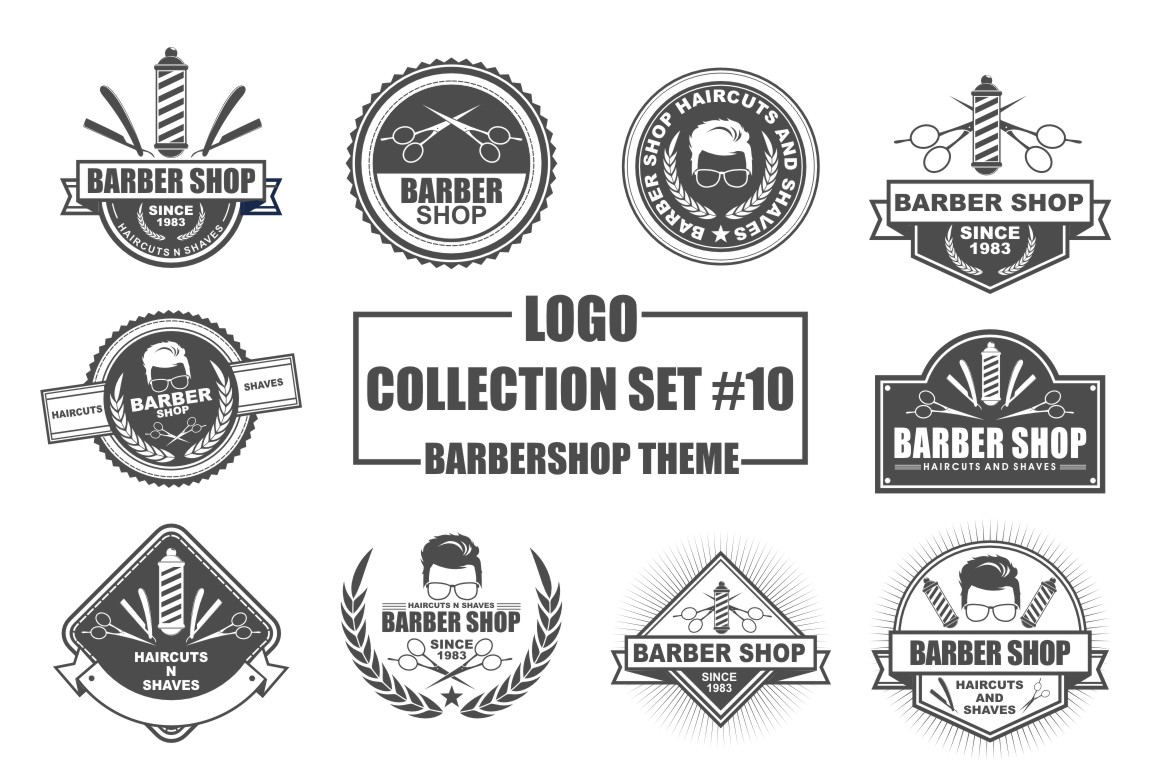 Download Free Logo Collection Set Barbershop Theme Graphic By Azkaryzki for Cricut Explore, Silhouette and other cutting machines.