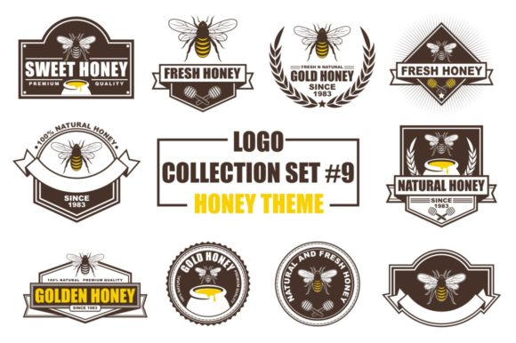 Print on Demand: Logo Collection Set - Honey Theme Grafik Logos von azkaryzki