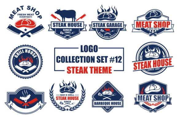 Print on Demand: Logo Collection Set - Steak Theme Grafik Logos von azkaryzki
