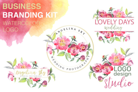 Print on Demand: Logo with Peonies Watercolor Png Graphic Illustrations By MyStocks