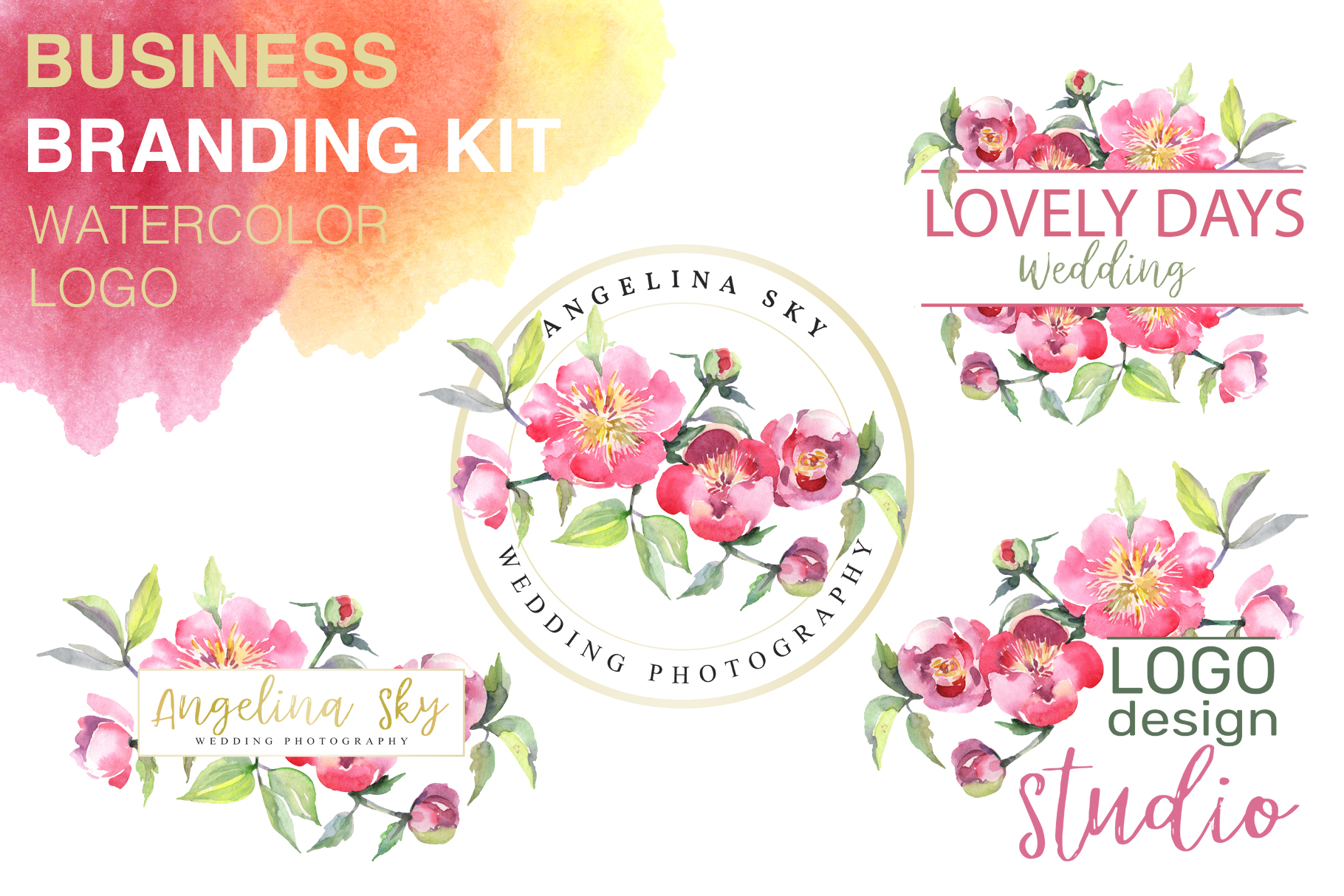 Download Free Logo With Peonies Watercolor Graphic By Mystocks Creative Fabrica for Cricut Explore, Silhouette and other cutting machines.