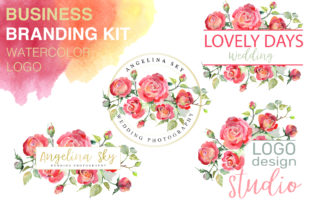 Download Free Logo With Red Roses Watercolor Graphic By Mystocks Creative for Cricut Explore, Silhouette and other cutting machines.