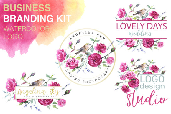 Print on Demand: Logo with Roses and Bird Watercolor Graphic Illustrations By MyStocks
