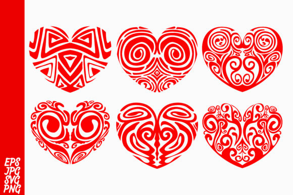 Print on Demand: Love Heart Ornament Bundle Graphic Illustrations By Arief Sapta Adjie