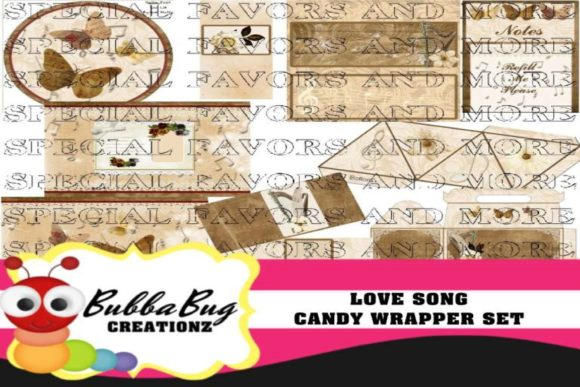 Love Song Candy Wrapper Set Graphic Crafts By BUBBABUG