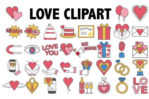Print on Demand: Love and Marriage Clipart Graphic Icons By Mine Eyes Design - Image 1