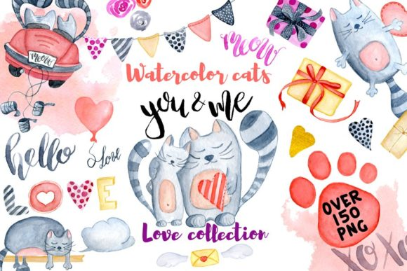 Love Cats Collection Graphic Illustrations By EvgeniiasArt