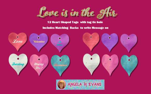 Download Free Love Is In The Air Gift Tags Graphic By Angela H Evans for Cricut Explore, Silhouette and other cutting machines.