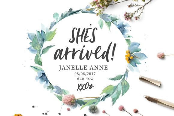 Loving Saskia Font and Watercolor Bundle Graphic Illustrations By Creativeqube Design - Image 12