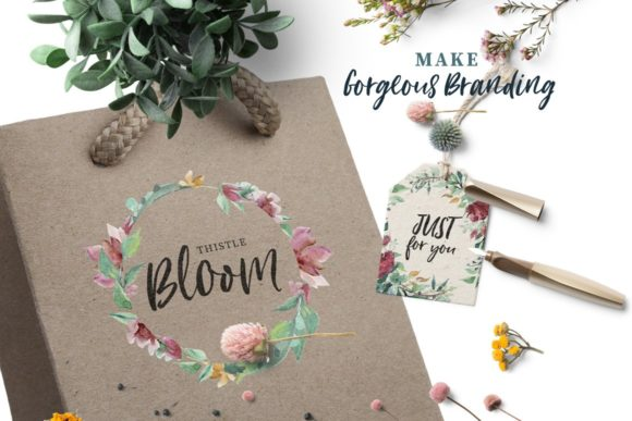 Loving Saskia Font and Watercolor Bundle Graphic Illustrations By Creativeqube Design - Image 13