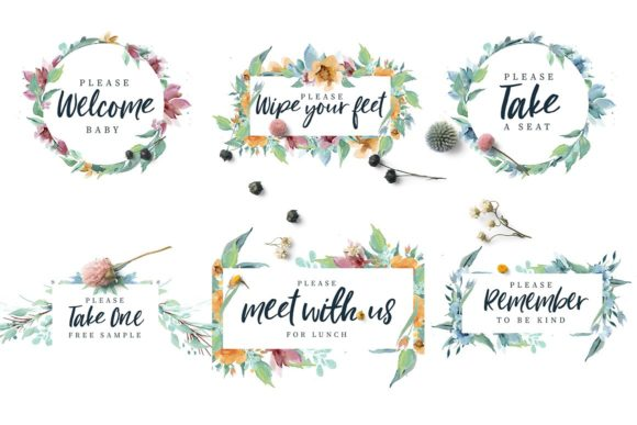 Loving Saskia Font and Watercolor Bundle Graphic Illustrations By Creativeqube Design - Image 14
