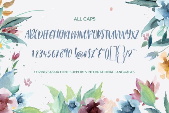 Download Free Loving Saskia Font And Watercolor Bundle Grafico Por for Cricut Explore, Silhouette and other cutting machines.