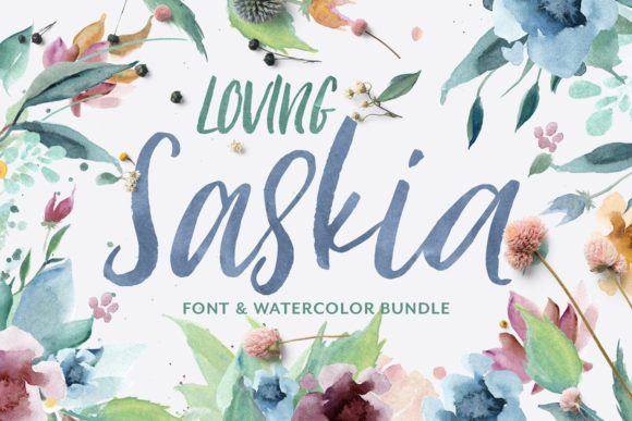 Loving Saskia Font and Watercolor Bundle Graphic By Creativeqube Design