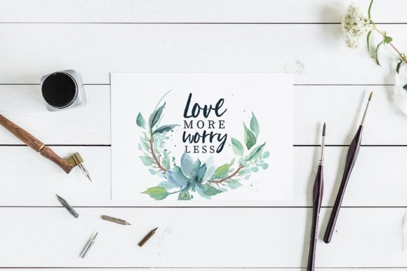 Loving Saskia Font and Watercolor Bundle Graphic Illustrations By Creativeqube Design - Image 10