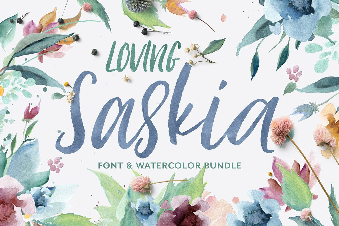 Download Free Loving Saskia Font And Watercolor Bundle Graphic By Creativeqube for Cricut Explore, Silhouette and other cutting machines.
