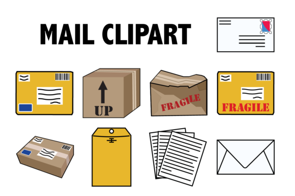 Print on Demand: Mail and Packages Clipart Graphic Icons By Mine Eyes Design