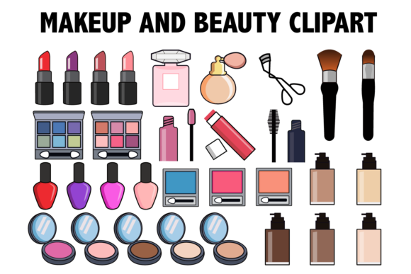 Print on Demand: Makeup and Beauty Clipart Graphic Icons By Mine Eyes Design - Image 1