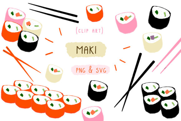 Print on Demand: Maki Sushi Japan, Japanese Food Clipart Graphic Icons By Inkclouddesign