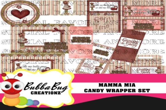 Mamma Mia Candy Wrapper Set Graphic Crafts By BUBBABUG