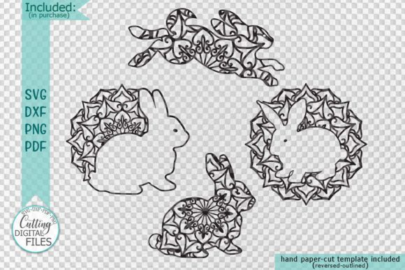 Download Free Mandala Easter Bunnies Cut Out Set Svg Graphic By Cornelia for Cricut Explore, Silhouette and other cutting machines.