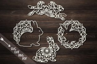 Mandala Easter Bunnies Cut out Set Svg Graphic By Cornelia
