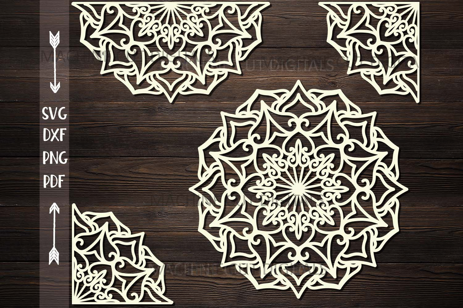 Download Free Mandala Set Half Corner Plotter Cut Svg Graphic By Cornelia for Cricut Explore, Silhouette and other cutting machines.