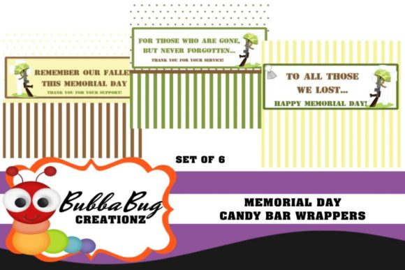 Memorial Day Candy Bar Wrappers Graphic Crafts By BUBBABUG
