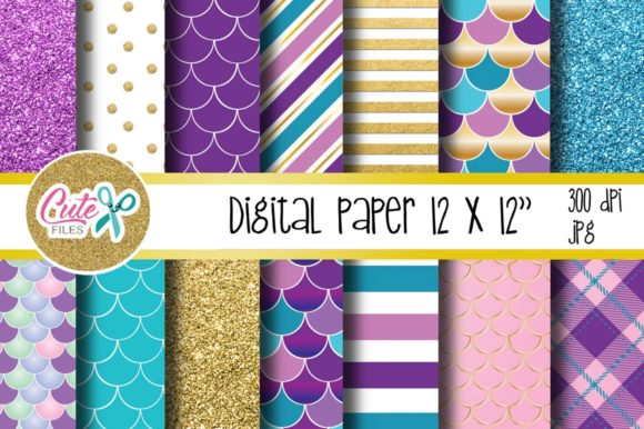 Mermaid Digital Paper for Scrapbooking Graphic Textures By Cute files