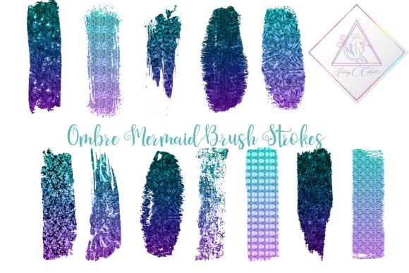 Print on Demand: Mermaid Ombre Brush Strokes Clipart Graphic Illustrations By fantasycliparts