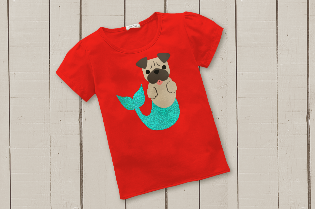 Download Free Mermaid Pug And Pug Face Svg Graphic By Risarocksit Creative for Cricut Explore, Silhouette and other cutting machines.